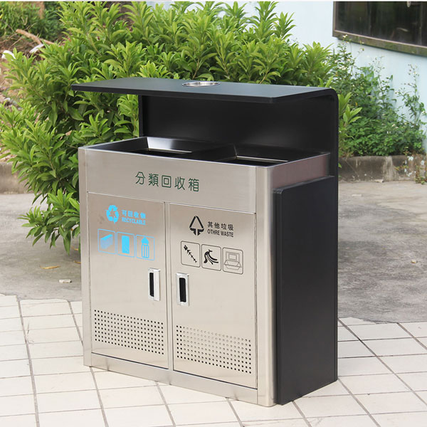 Outdoor stainless steel trash bin with ashtray HD-N14 (3)