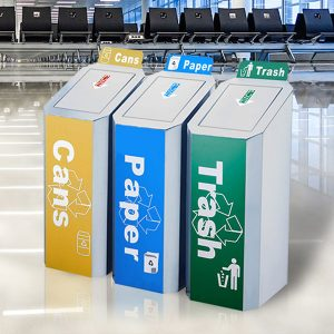 Commercial stainless steel dustbin for airport HD-N22