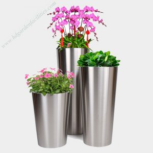 Wholesale stainless steel tapered planters