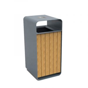 Factory wholesale metal and wood outdoor dustbin HD-SW006