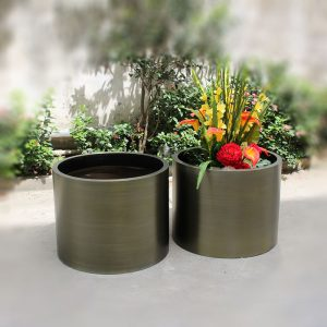 Factory wholesale bronze color stainless steel cylinder planter HD-SP215