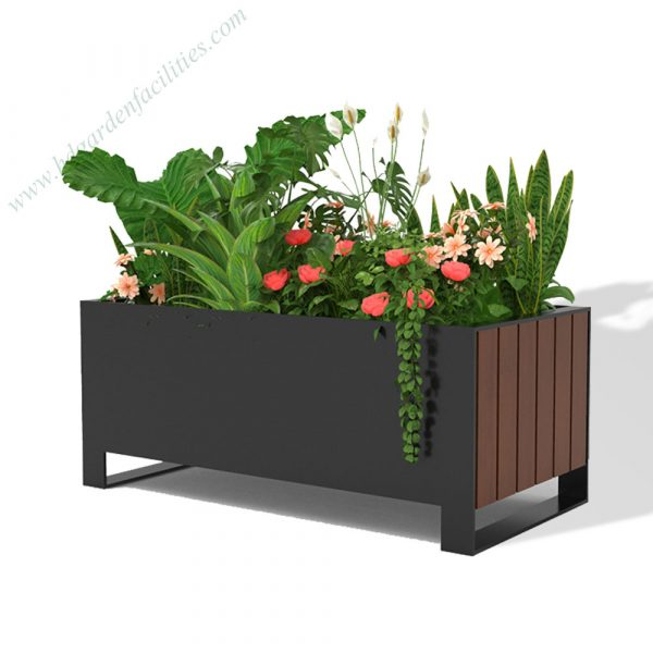 Factory wholesale rectangular outdoor steel and wood planter box HD-MP223 (1)