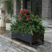 Factory wholesale rectangular outdoor steel and wood planter box HD-MP223 (2)