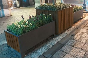 Factory wholesale rectangular outdoor steel and wood planter box HD-MP223