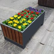 Factory wholesale rectangular outdoor steel and wood planter box HD-MP223 (4)