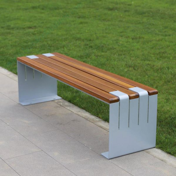 Metal and wood outdoor bench seat without backrest HD-GF2015 (4)